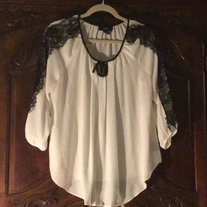 White with lace trim blouse